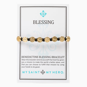 Benedictine Blessing Bracelets come on an inspirational card with the story of the Benedictine Medal of protection