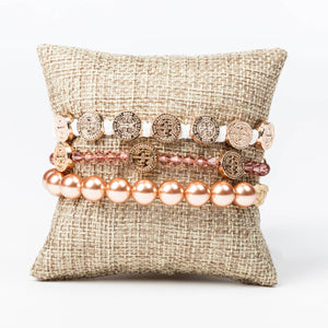 Love stack featuring St. Amos Share the Love and Radiant Swarovski pearl bracelets