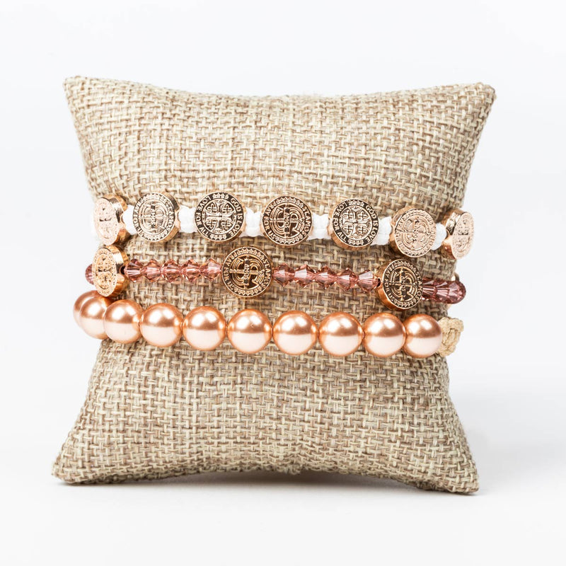 Love stack featuring St. Amos Share the Love and Radiant crystal pearl bracelets