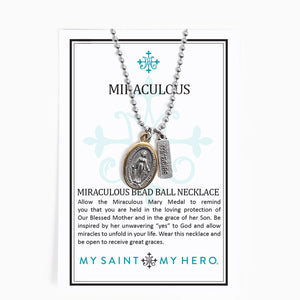 Miraculous Mary Gold Rim Bead Ball Necklace Inspirational Card