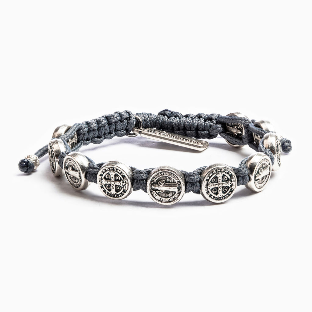 New Beginnings Benedictine Blessing Bracelet Slate Cording Silver Medals
