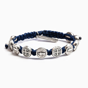 Benedictine Blessing Bracelet Navy Cording Silver Medals