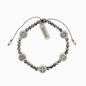StAmos Share the Love Premium Crystal Blessing Bracelet with Loved Charm in Silver NIght