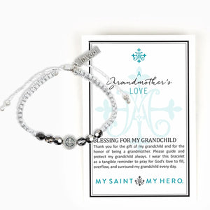 A Grandmother's Love Blessing Bracelet comes on an inspirational card with a Prayer for My Grandchild