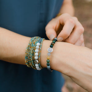 Wake Up and Pray Blessing Bracelets Worn in Stack