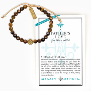 A Father's Love for their Child Tiger's Eye Gemstone Blessing Bracelet for Dad John Stamos Collection