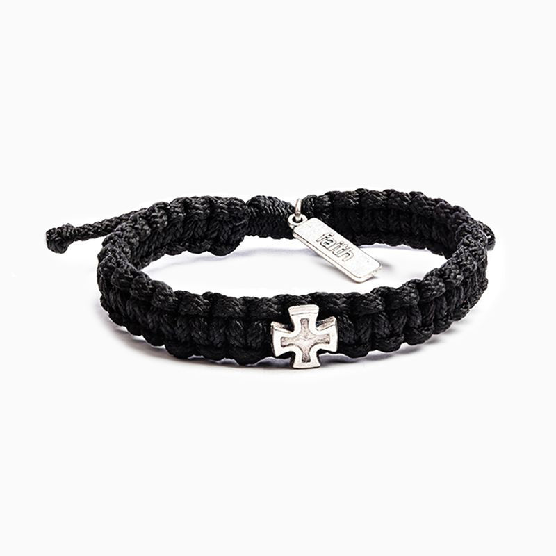 Strength Woven Cross Bracelet - Black/Silver