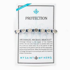Protection Archangel Michael Bracelet with Miraculous Mary Medals on an inspirational card