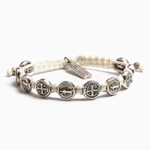 Benedictine Blessing Bracelet White Cording Silver Medals