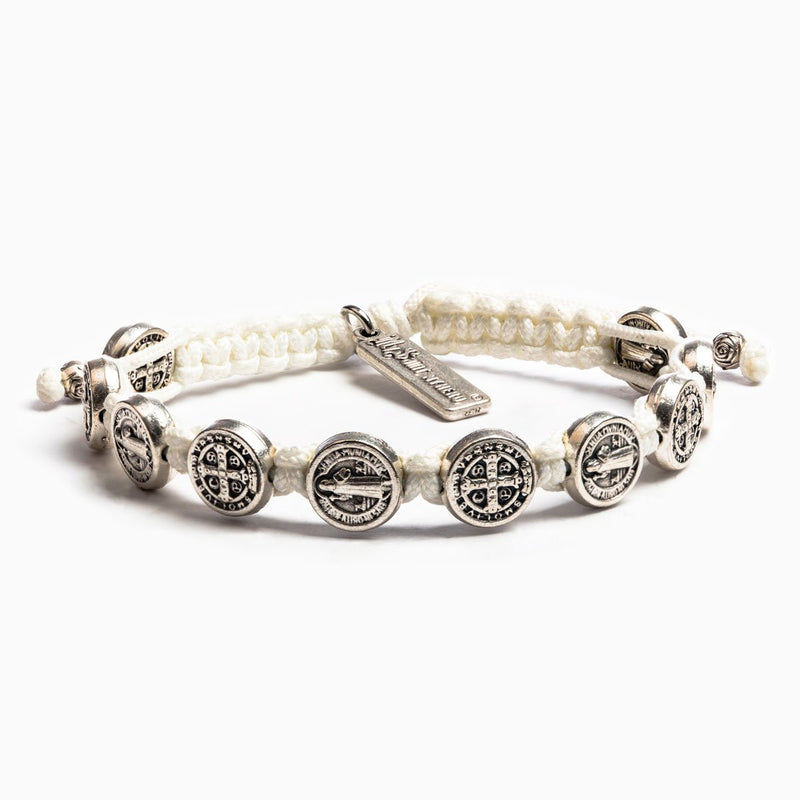 Benedictine Blessing Bracelet Tan Cording Silver Medals