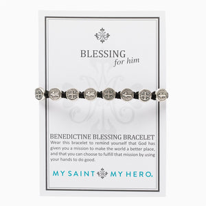 "Benedictine Blessing Bracelet for Men on My Saint My Hero Inspirational Card - ""Wear this bracelet to remind yourself that God has given you a mission to make the world a better place, and that you can fulfill that mission by using your hands to do good."""
