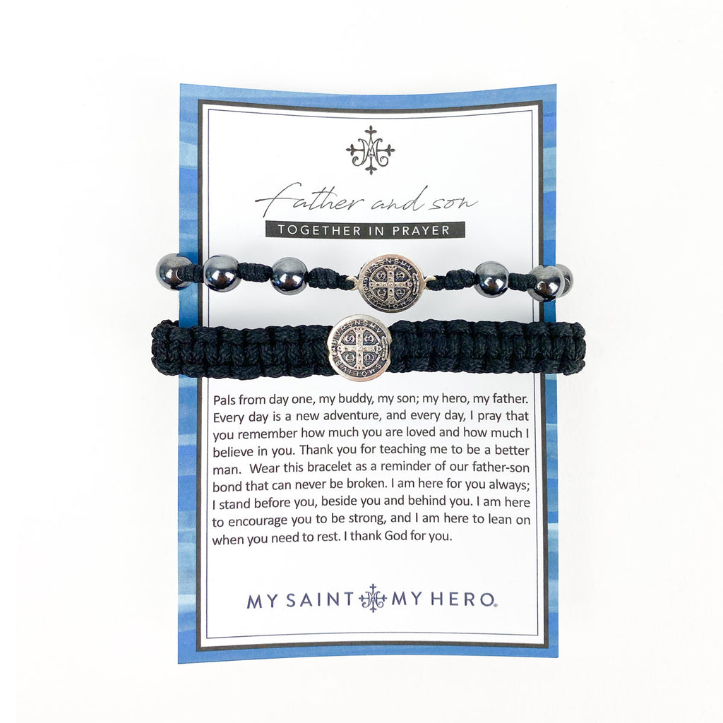 Father and Son Together in Prayer Blessing Bracelet Set Benedictine Medal