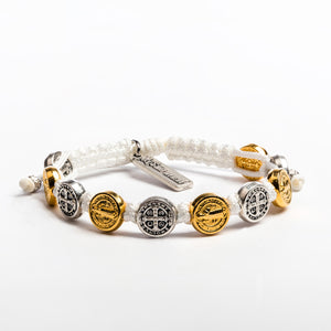 Benedictine Blessing Bracelet white cording mixed gold silver medals