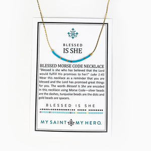 Blessed is She Morse Code Necklace on Card