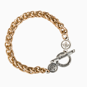 Blessed Link Gold Tone and Silver Tone Toggle Bracelet