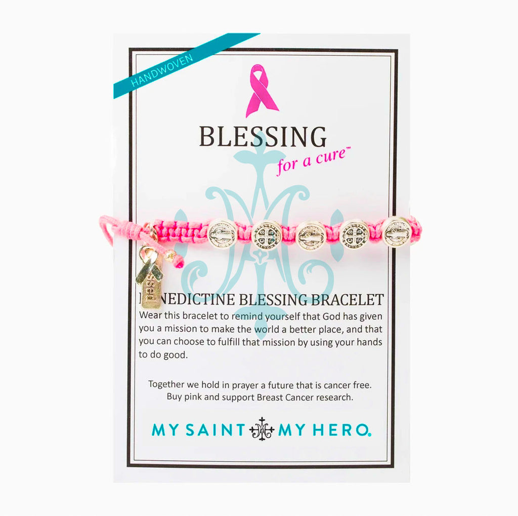 Blessing for a Cure Benedictine Woven Blessing Bracelet giving back to breast cancer research
