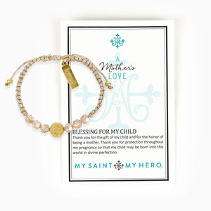 A Mother's Love Blessing for My Child Bracelet comes on an inspirational card with a Blessing Prayer