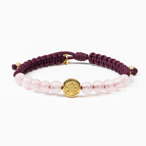 Wake Up and Pray Meditation Bracelet  Rose Quartz Gold