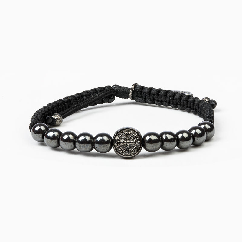 Wake Up and Pray Meditation Bracelet - Hematite