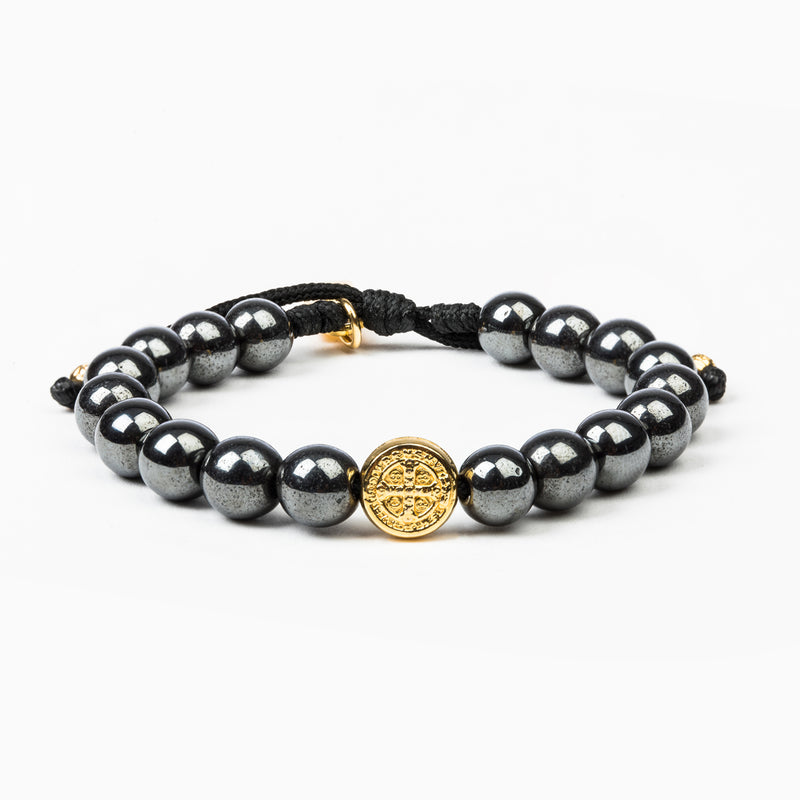 Strength Hematite Power Bracelet with Benedictine Medal of protection on woven cording