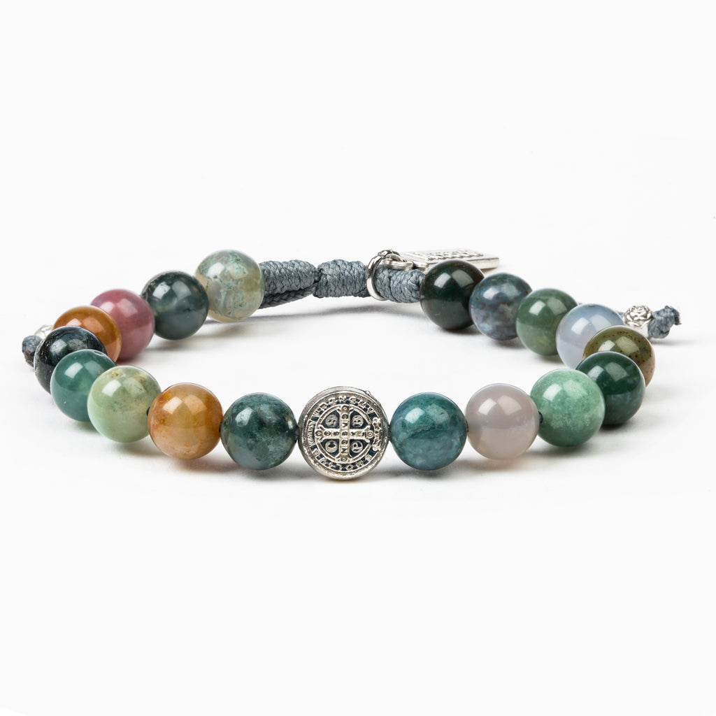Luck Mixed Agate Power Blessing Bracelet with Saint Benedict Medal