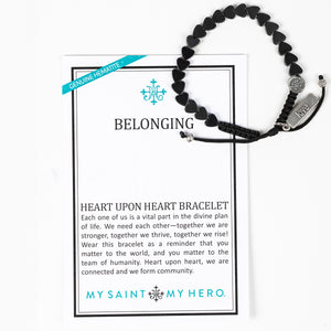 Belonging Heart Upon Heart Hematite Bracelet