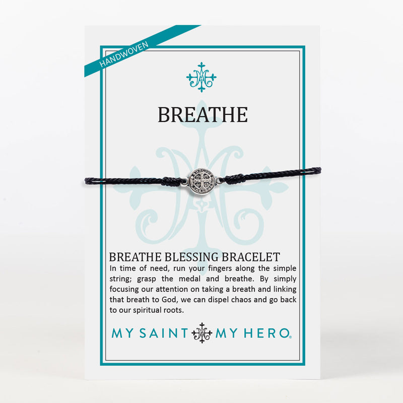 Breathe Blessing Bracelet Black cording and Silver tone Benedictine Medal of protection on Inspirational Card