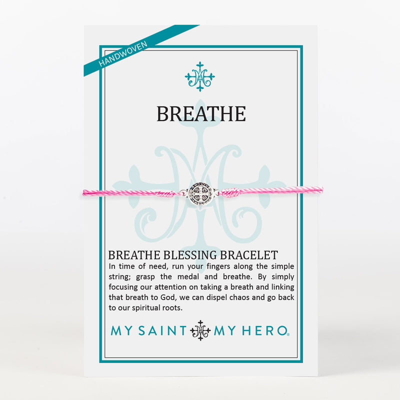 Breathe Blessing Bracelet Black Silver on Inspirational Card