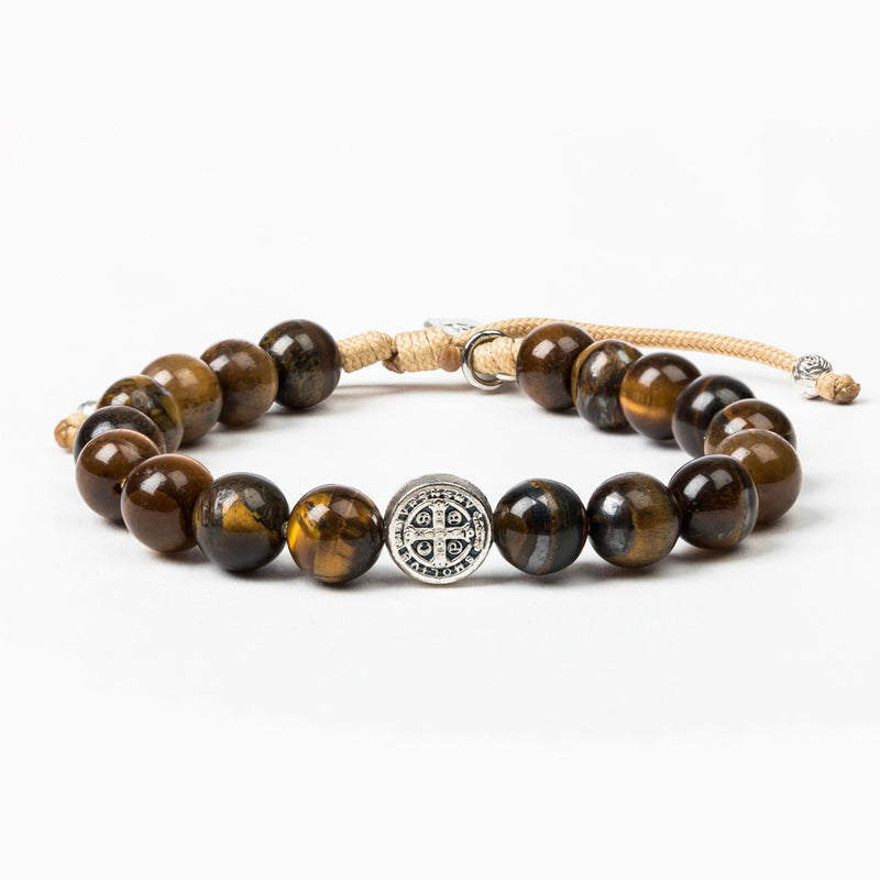 Courage Tiger's Eye Power Bracelet with St. Benedict Medal of Protection in silver tone and tan woven cording