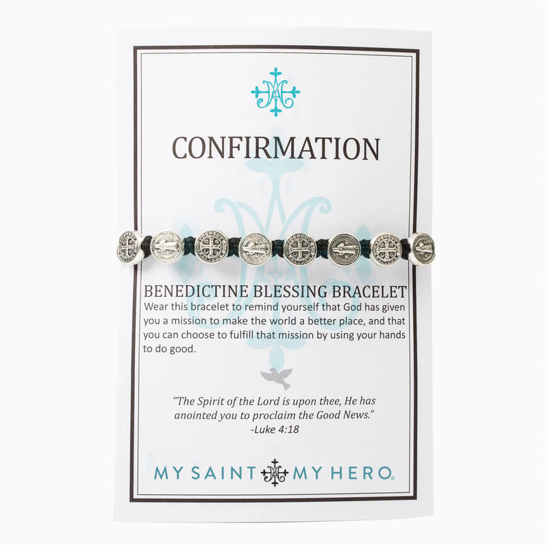 Confirmation Benedictine Blessing Bracelet - Tan/Silver