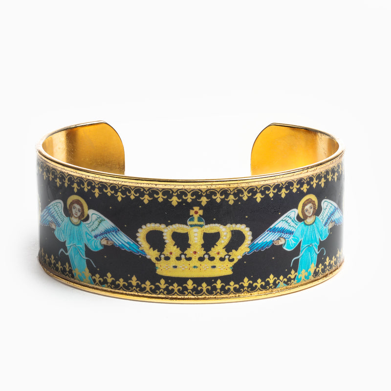 Crown of Glory Sacred Icon Cuff with angels and a royal crown exclusive to My Saint My Hero