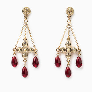 Deep Faith Chandelier Earrings - Red/Gold