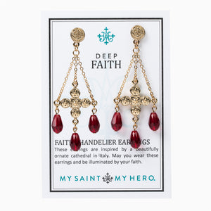 Deep Faith Chandelier Earrings - Red/Gold on Inspirational Card