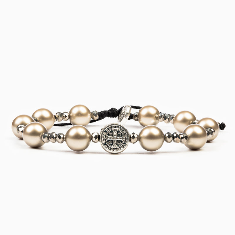 Divine Beauty Beautiful Saint Benedict Crystal Pearl Blessing Bracelet