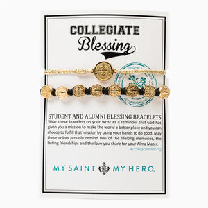 Collegiate Blessing Bracelet Metallic Gold Serenity Black Benedictine 