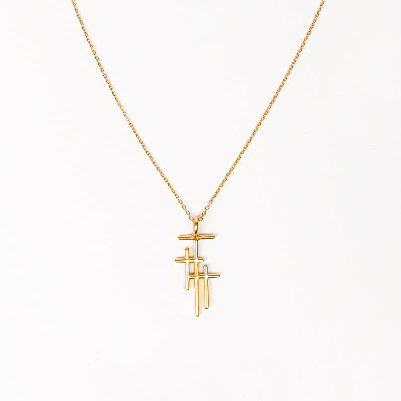 Faithful Light Three Cross Necklace in gold-tone