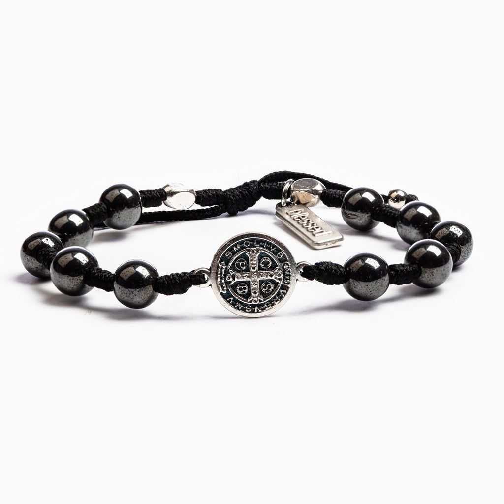 Fearless Iron Sharpens Iron Blessing Bracelet Hematite Gemstone Beads and Saint Benedict Medal on Black Knotted Cording