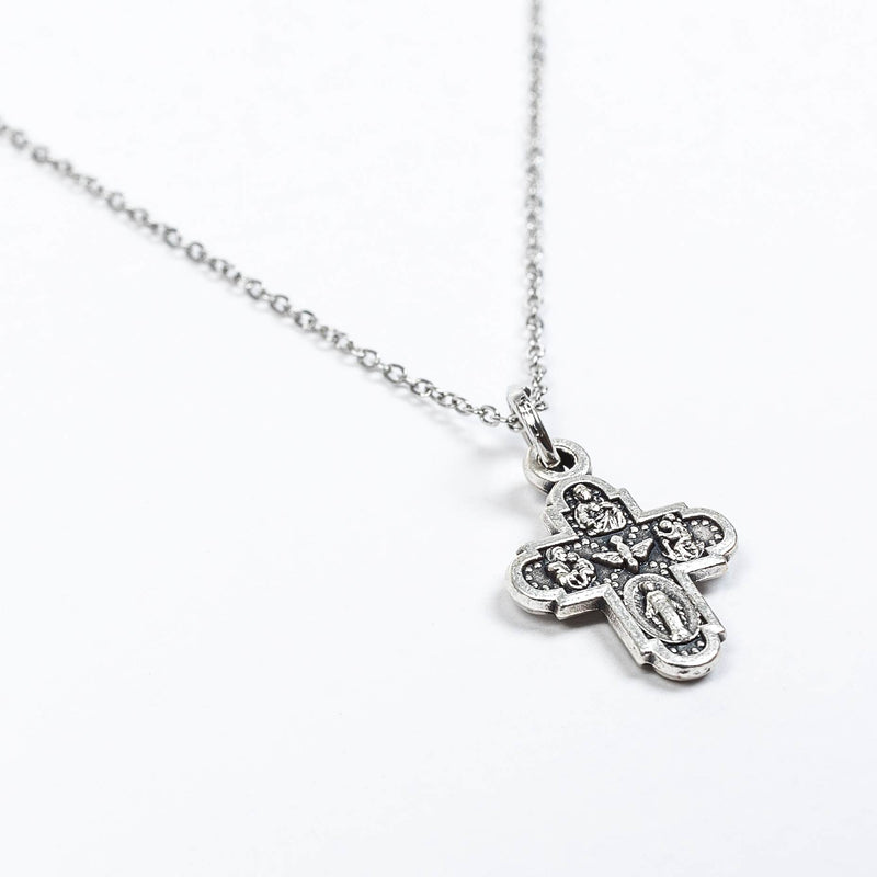 Vintage inspired Heavenly Blessings Necklace featuring the traditional Catholic Four Way Cross Medal