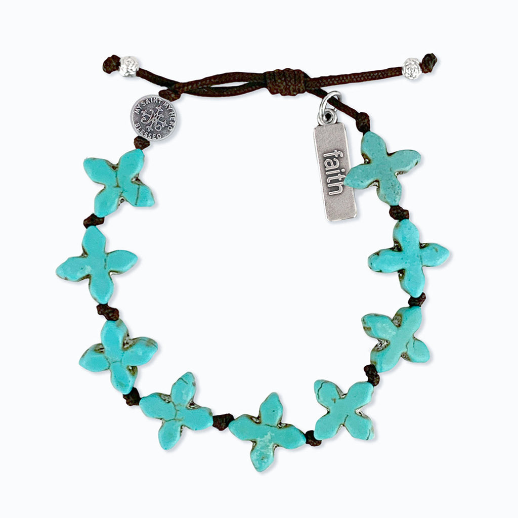 Grounded in Faith Bracelet Blue Howlite