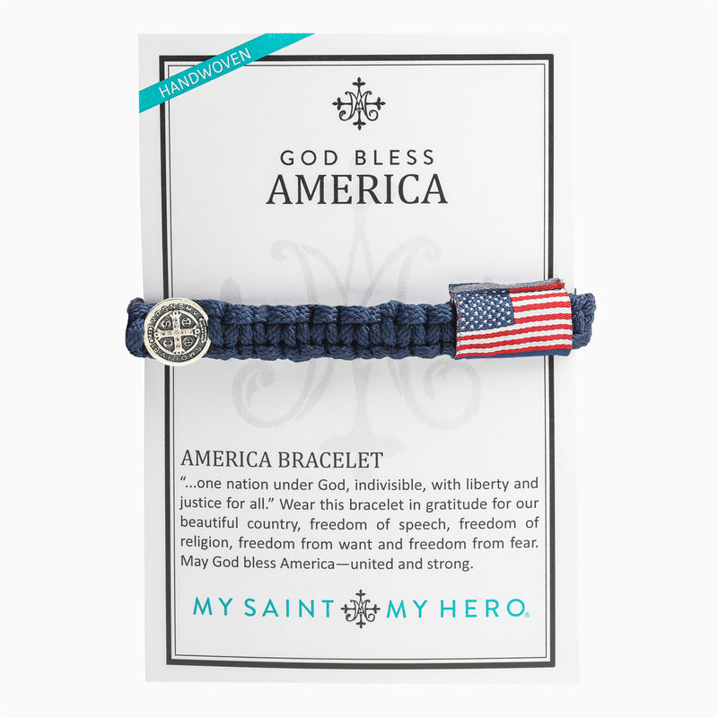 God Blessing America Woven Catholic Benedictine Blessing Bracelet for Men on Inspirational Card