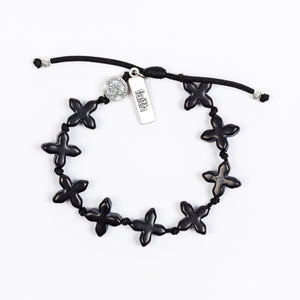 Grounded in Faith Black Cross Handwoven Blessing Bracelet