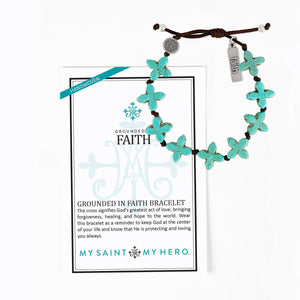 Grounded in Faith Handwoven Cross Blessing Bracelet with My Saint My Hero Christian Inspirational Card