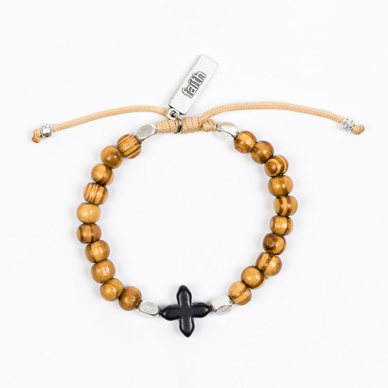 Grounded in Faith Olive Bead Bracelet
