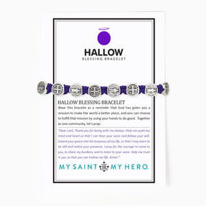 Hallow Blessing Bracelet Purple Cording and Silver Benedictine Medals on a special Hallow Card with the Emergency Novena