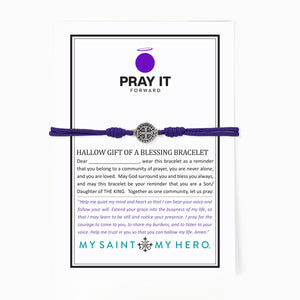 Hallow Pray it Forward Gift of a Blessing Bracelet Purple Cording Saint Benedict Cross Medal on a card that can be personalized