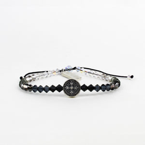 St Amos Share the Love Love LIghts the way Crystal and Diamond Blessing Bracelet Black Ombre