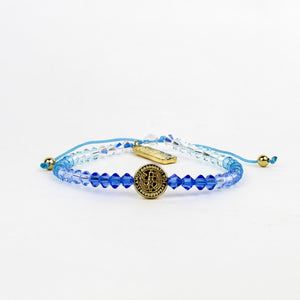 St Amos Share the Love Love LIghts the way Crystal and Diamond Blessing Bracelet Blue Ombre