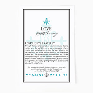 St Amos Share the Love Love LIghts the way Crystal and Diamond Blessing Bracelet Inspirational Card