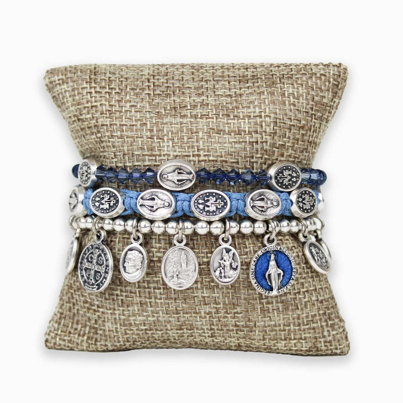 Mary Stack featuring Stellar Blessings Miraculous Mary, Miraculous Mary Woven Blessing Bracelet, Saints and Angels Bracelet