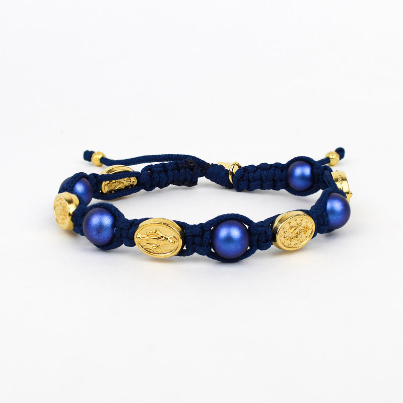 Blue Swarovski Pearls and Gold Miraculous Mary Saint Medals in Hand Woven Blessing Bracelet